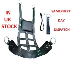 Adult Sex Heavy Leather Sling with Stirrups Mountable Suspendable Swing