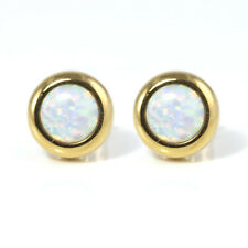 Created Opal Earrings White Bezel Set Gold Plated Stainless Steel Posts