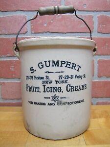 S GUMPERT NEW YORK FRUIT ICING CREAMS Antique Bakery Advertising Stoneware Crock