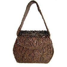 Brown Bronze Beaded Box Purse Handbag Formal Evening Small Boxy Vintage 1960s
