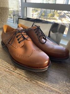 NEW 11.5 WIDE Cole Haan Men's OriginalGrand Lux Tan Leather Wingtip Oxford Shoes