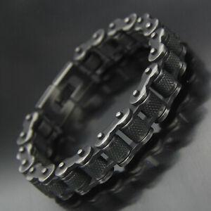 Vintage Gun Gray Metal Bike/Motorcycle Chain Stainless Steel Bracelet Biker Link