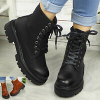 Womens Ankle Lace Up Boots Ladies Casual Combat Boot Comfy Fashion Zip New Shoes