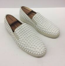 $1200 CHRISTIAN LOUBOUTIN White Leather Spike Roller Boat Flat Mens 44 eu/ 11 us