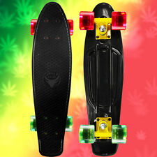 "RASTA 22"" Penny Style SkateBoard Black w/ Yellow Truck, Clear Red & Green Wheels"