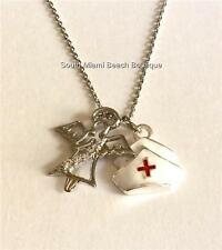Nursing Angel Necklace Pendant Cubic Zirconia Nurse Nurses Cap Graduation Gift