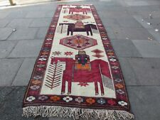 Vintage Hand Made Traditional Oriental Wool Cream Red Long Rug Runner 389x138cm