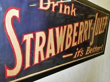 """STAFFORD LOWDON STRAWBERRY JULEP SIGN UNDER GLASS 42"""" LONG EARLY 1930"""