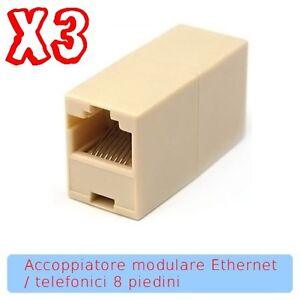 Accoppiatore 8p8c femmina femmina RJ45 per unire due cavi ethernet Lan Internet