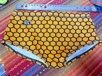 Agon Men's Orange/Black Honeycomb Swimsuit Bikini - White mesh liner - US36