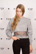 90s vintage grey cropped fishnet swetshirt jersey jumper