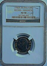Italy 1942 R XX 20 CENTESIMI  NGC AU58 -  MAGNETIC/REEDED EDGE - FREE SHIPPING!