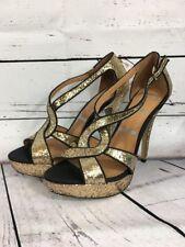 Elle Women's Gemini Gold Glitter Strappy Open Toe Platform Heels size 8 Sexy