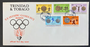 1972 Trinidad & Tobago First Day Cover FDC Munich XX Olympic Games