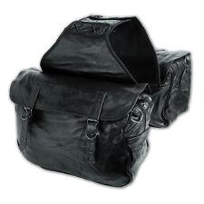 Alforja Cuero suave de la Moto Custom Chopper Bobber Negro Saddle Bags