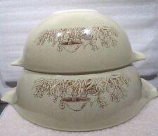 "2 Pyrex ""Forest Fancies"" Cinderella Nesting Mixing Bowls Mushrooms  443 & 444"