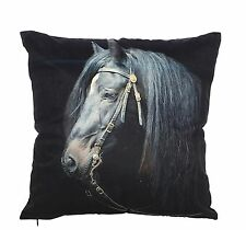 Horse Cushion - Striking Blk/Brown Horse on Faux Suede Cushion