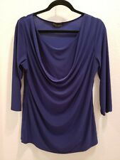 J.M. FLEURETTE Size XL Blue Faux 2 Piece 3/4 Sleeve Draped Neck Top