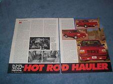 """1994 Ford Lightning F-150 Pickup Vintage Info Article """"Hot Rod Hauler"""""""