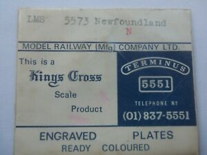 """N""  2mm.  KINGS CROSS  LMS   5573  NEWFOUNDLAND  NAME PLATE"
