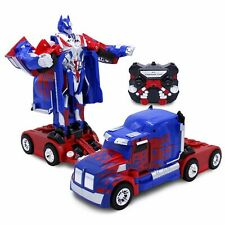 Kids RC Toy Car Transforming Robot Remote Control Gift Toys For Boys Blue Truck
