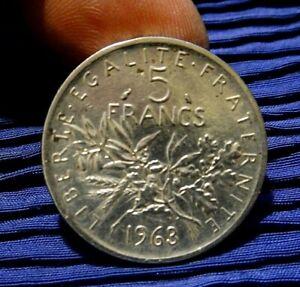 REPUBBLICA FRANCESE 5 FRANCHI 1963 ARGENTO 835/1000