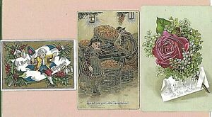 3 VINTAGE VICTORIAN XMAS CARDS ROSE & 2 WITH CHILDREN