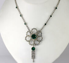 Vintage Green & White Cubic Zirconia Flower Tassel Drop Necklace Costume Jewelry