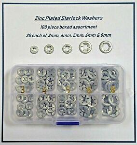 Starlock Washers Quick Lock Star Nut Push On Retaining Grab Clips Zinc 3mm-8mm