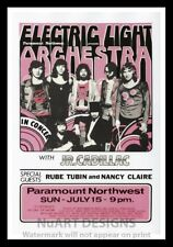 """Framed Vintage Style Rock 'n' Roll Poster """"E.L.O. Electric Light Orchestra;12x18"""