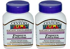 2 x 21st Century Papaya Enzyme 100 Chewable Tablets Healthy Digestive Function