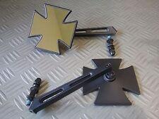 coppia specchi moto croce di malta nero opaco per yamaha drag star xvs