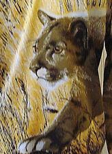 RARE VINTAGE PAOLO SANTINI SILK TUNIC BIG CAT ANIMAL PRINT BROWN & GOLD SIZE 4