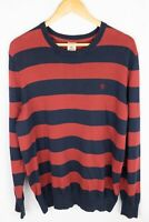 Timberland Men Jumper Cotton Blue Red Striped Crew Neck size L