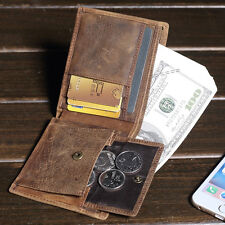 Men Crazy Horse Leather Coin Wallet Vintage Bill Fold Billfold Card Cash Purse