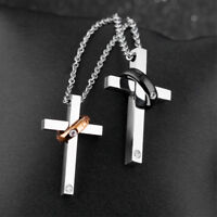 Couple Necklace Men Women Cross Pendant Necklace Lovers Chain Stainless Steel