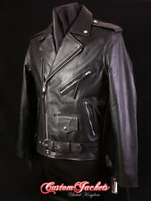 Men BRANDO Real Leather Jacket Black MOTORCYCLE Motorbike Cowhide Leather Jacket