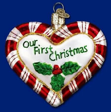 Old World Christmas Heart Peppermint Striped Ornament 30020 35 25