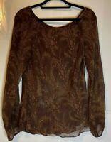 Banana Republic Women's 100% Silk Sheer Brown Print Top Size L