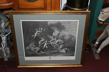 Antique Religious Christianity Engraving-Large-Angels Cherubs Jesus-Wording