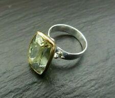 Prasiolith Grüner Amethyst Ring 925 Sterlingsilber Handarbeit Größe 59 R1328