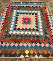 Vintage Patchwork Quilt Folk Art Sqaures Colorful 56x47 Clean Homemade Quilt WoW