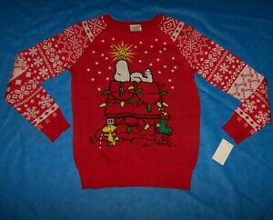 Size L  Juniors / Womens  Ugly Christmas Sweater  Peanuts Snoopy