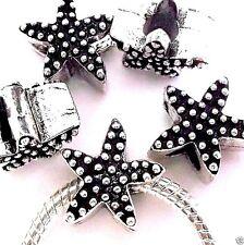 Lot of 5 European Charm Metal Spacer Beads Starfish Star Fish w/Black enamel Z69