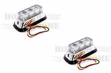 High Powered 3 LED Flashing Amber Car Grille Light Chrome Mounting Flange Pair