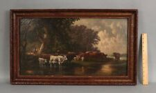 19thC Antique Bucolic Country Cow Cattle Landscape Oil Painting, No Reserve!