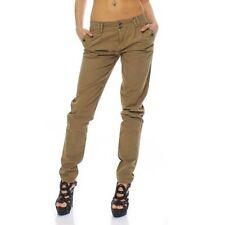 Pantaloni da donna verde chino di cotone
