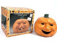 Vintage Earthenware Halloween Pumpkin Jack O'Lantern Ceramic Candle Holder