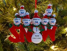 Snowman Family Of 7 Personalized Christmas Tree Ornament