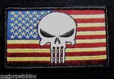 USA PUNISHER US FLAG ARMY USA MILITARY ISAF SEALS MORALE FULL COLOR HOOK PATCH